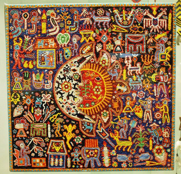Huichol beaded panel on display at the Museum of Artes Populares in Mexico City