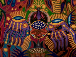 Amazing picture made by a Huichol Indian using colored string.