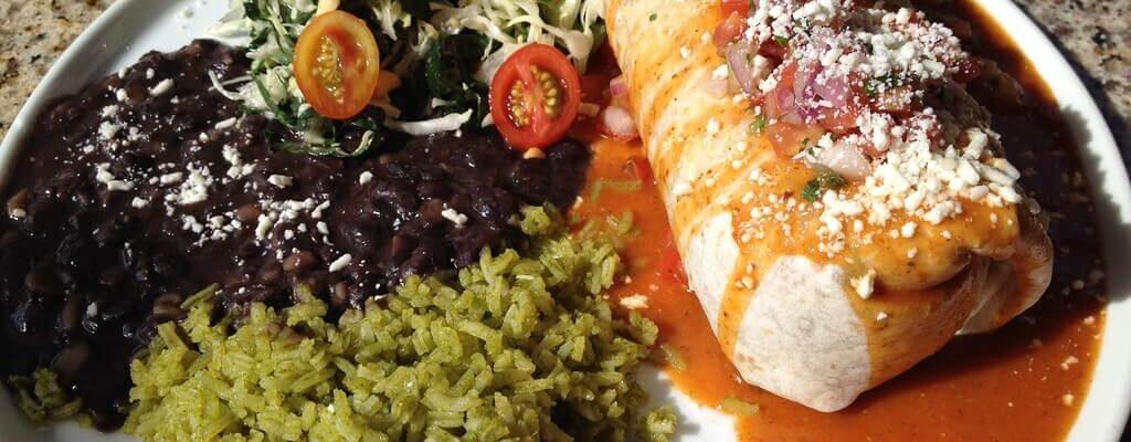 Wet Burrito, Cilantro Rice and Black Beans